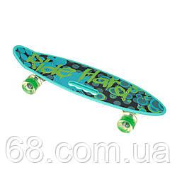 Пенниборд-скейт SL-AS108, дека з ручкою, колеса PU СВІТЯТЬСЯ