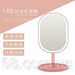 Зеркало овальное с LED подсветкой для макияжа Розовое (W-38) / Косметическое зеркало с пдсветкой