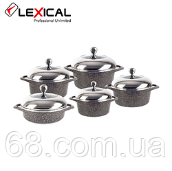 Набір каструль LEXICAL LG-141001-2 гранітне покриття, 5 каструль з кришками 20/24/28/28/32 см