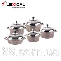 Набір каструль LEXICAL LG-141001-5 гранітне покриття, 10 предметів 20/24/28/28/32 см, Golden