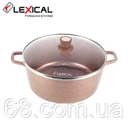 Каструля LEXICAL LM-010212-5 LORD Marble Casserole з антипригарним покриттям 36 см, Golden