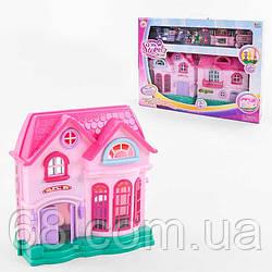 Домик 16526 D (12) 2 этажа, 2 фигурки персонажей, мебель, свет, звук, на батарейках, в коробке