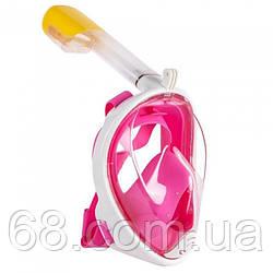 Повна маска для плавання снорклінга FREE BREATH (S/M) M2068G з кріпленням для камери Рожева