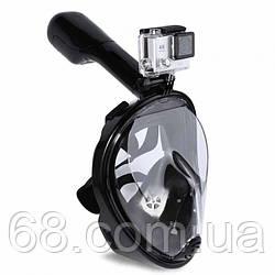 Повна панорамна маска для плавання FREE BREATH (L/XL) M2068G з кріпленням для камери Чорний 46622
