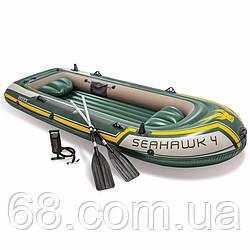 INTEX надувний човен 68351 seahawk 4 (351х145х48см), алюмінієві весла, насос