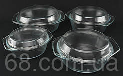 Набір скляних каструль A-PLUS 4 шт круглих