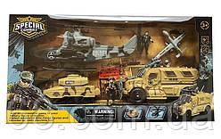 Військовий набір D 3109-47 (8) 9 елементів, вертоліт, танк запускач, машинка запускач, безпілотник запускач, 2