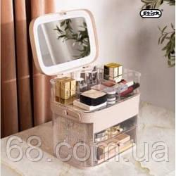 Органайзер для косметики 3 секції з дзеркалом (Рожевий) (W-14)