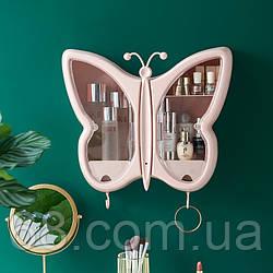 Органайзер-полиця для косметики Метелик (Рожевий) (W-32)