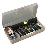 Коробка пластмассовая MTM Broadhead Accessory для 6 наконечников стрел и прочих комплектующих. Размеры – 11,5х21х5 см. Цвет – серый.