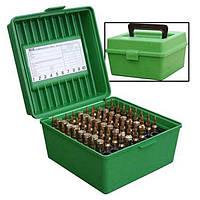 Коробка пластмассовая MTM R-100 на 100 патронов кал. 22-250 Rem; 243 Win; 6 mm BR Norma; 6,5x55; 6,5x284 Norma; 7,62x39; 30-30 Win; 308 Win; 30-06;