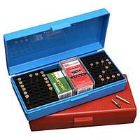 Коробка пластмассовая MTM SB-200 на 250 патронов кал. 22 LR; на 200 шт. кал. 22 WMR и на 150 шт. кал. 17 HMR. Цвет – голубой.