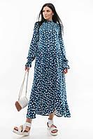Свободное платье Флорет длиной миди из плотной струящейся ткани с воротником 42-56 размер разные цвета