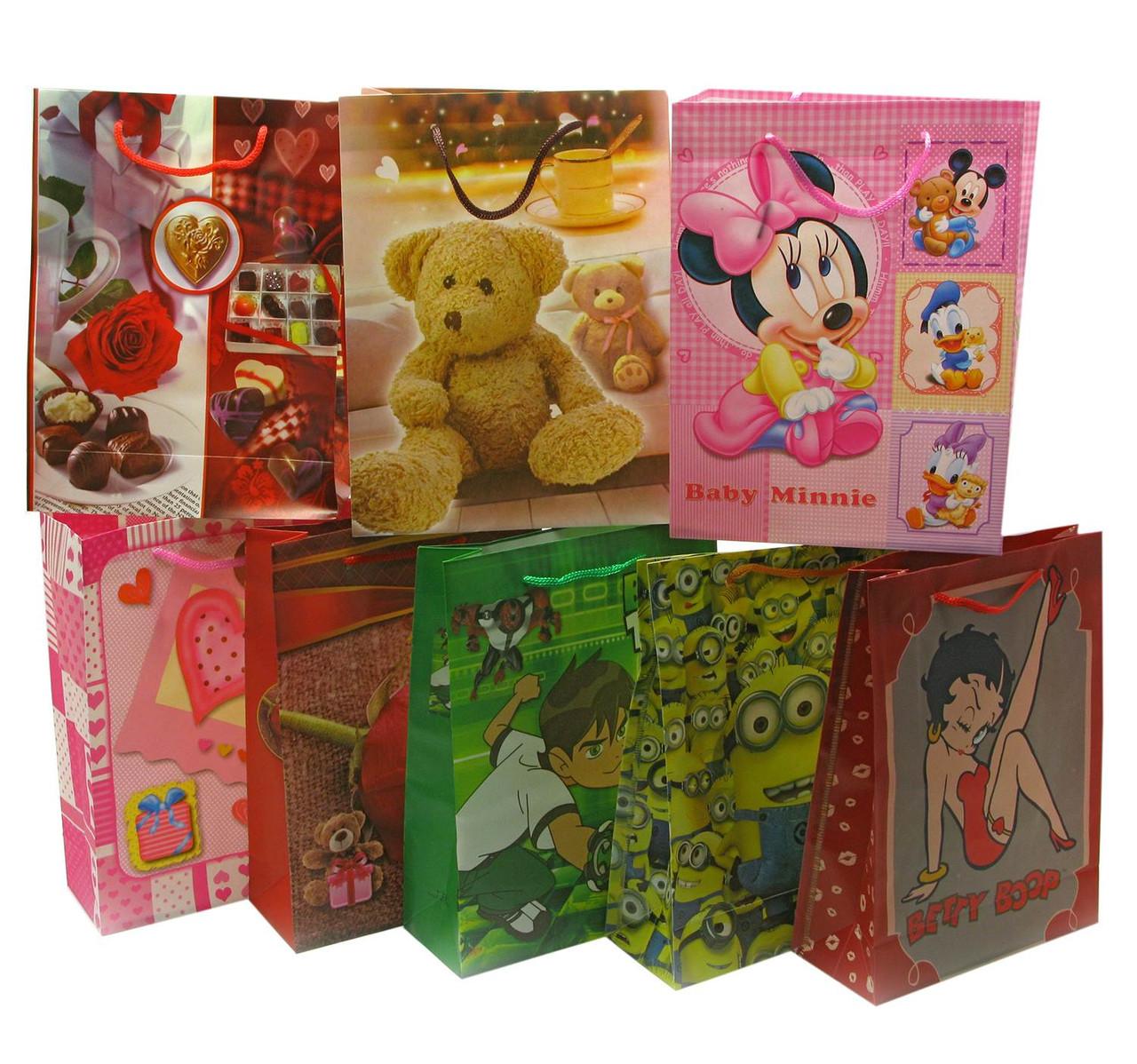 Подарочные пакеты Мультики в ассортименте 12 шт./упаковка