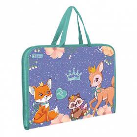 """Папка-портфель 1Вересня на блискавці з тканинними ручками """"Forest princesses"""""""