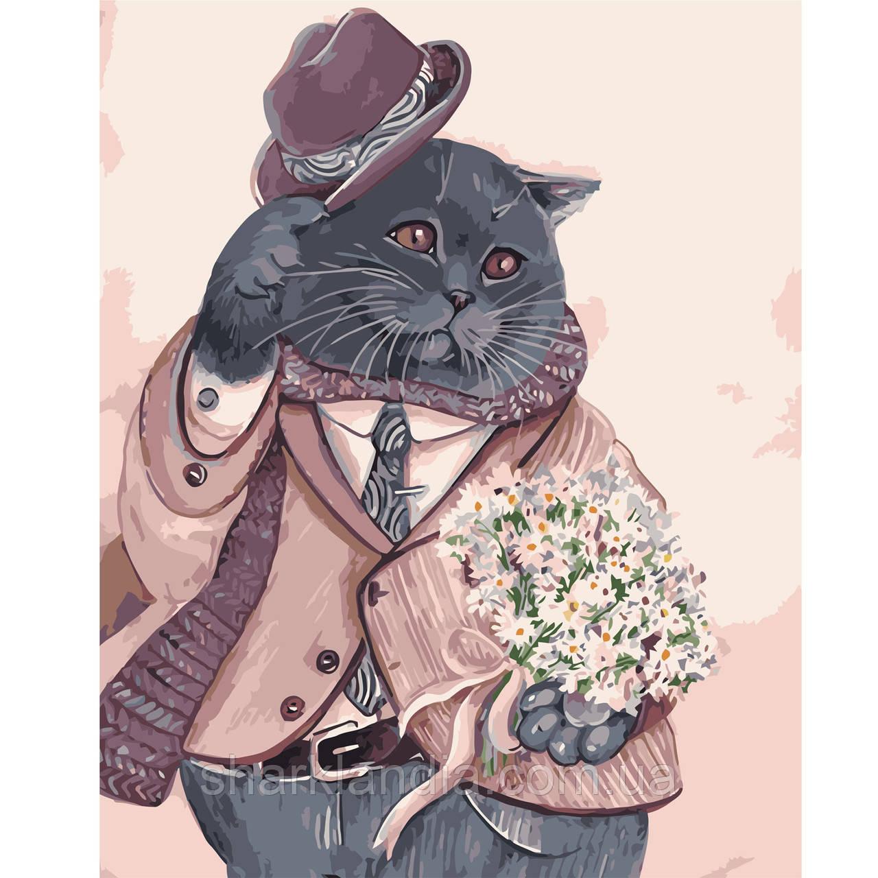 Картина по Номерам Шотландский кот в костюме 40х50см Strateg