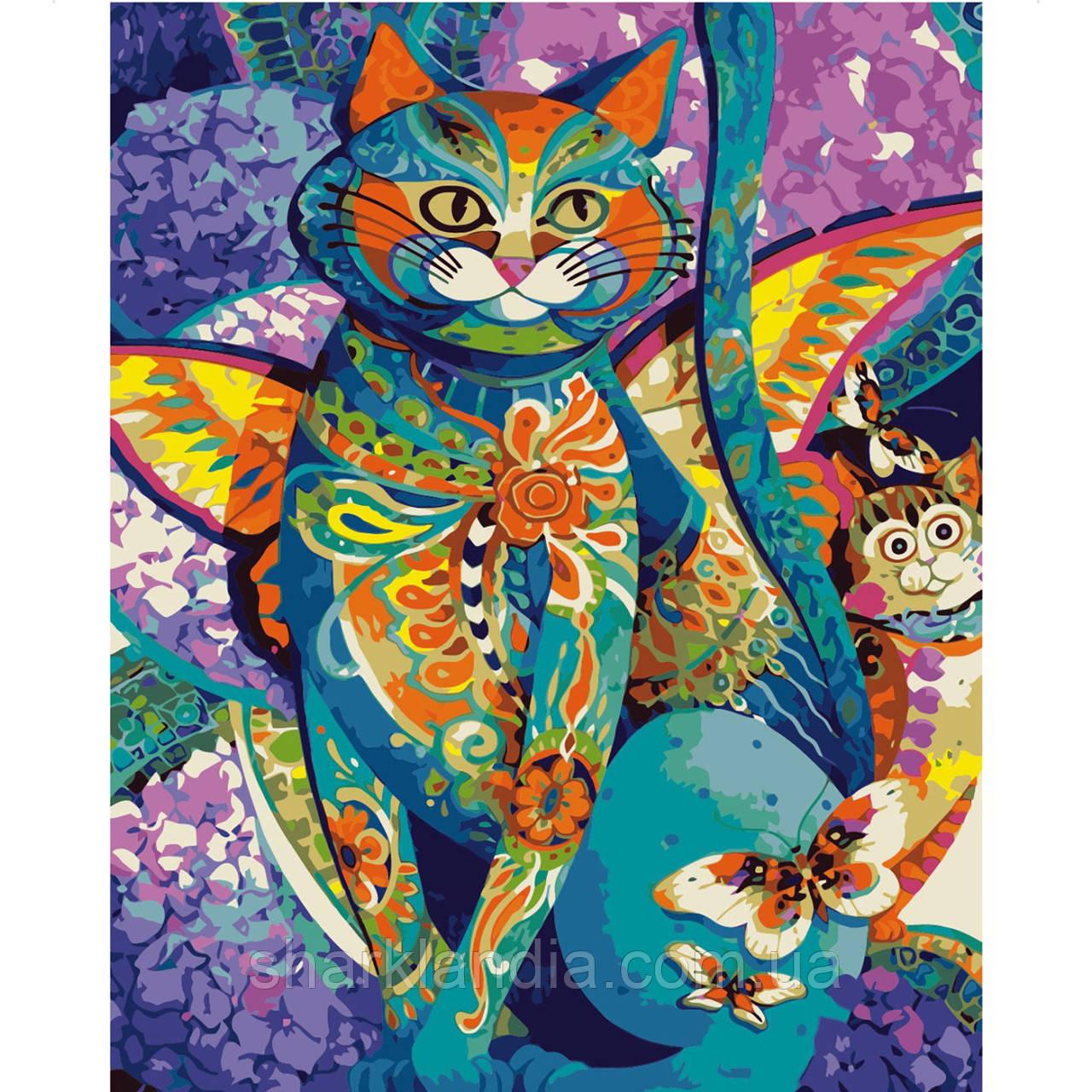 Картина по Номерам Кот из цветных мотивов 40х50см Strateg