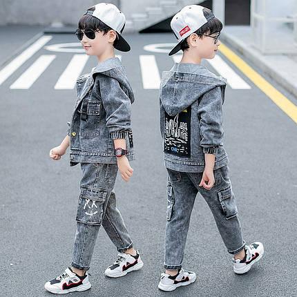 Джинсовый костюм на мальчика с накладными карманами, фото 2