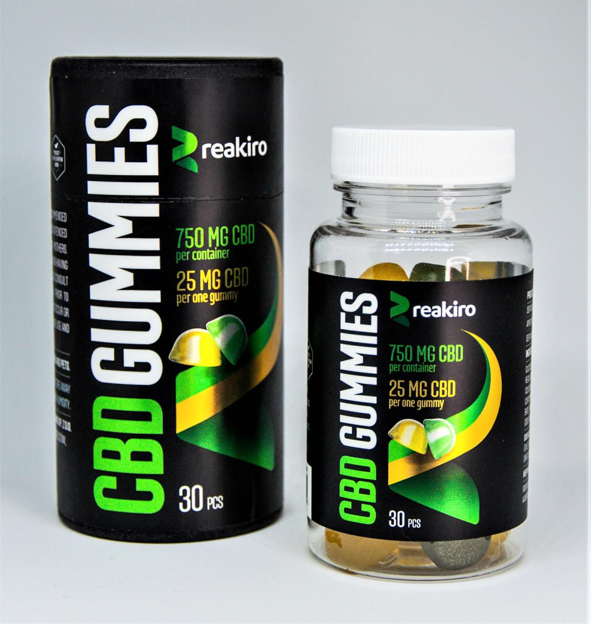 Желейные конфеты CBD Gummies Reakiro  750 мг 30 шт Apple & Lemon