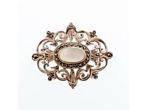 Вінтажна Срібна брошка з Перламутром і камінням Моріон