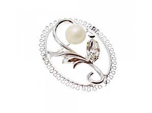 Срібна брошка з Перлами і Фианитом