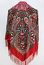 Платок украинский в народном стиле красный 611017, фото 3