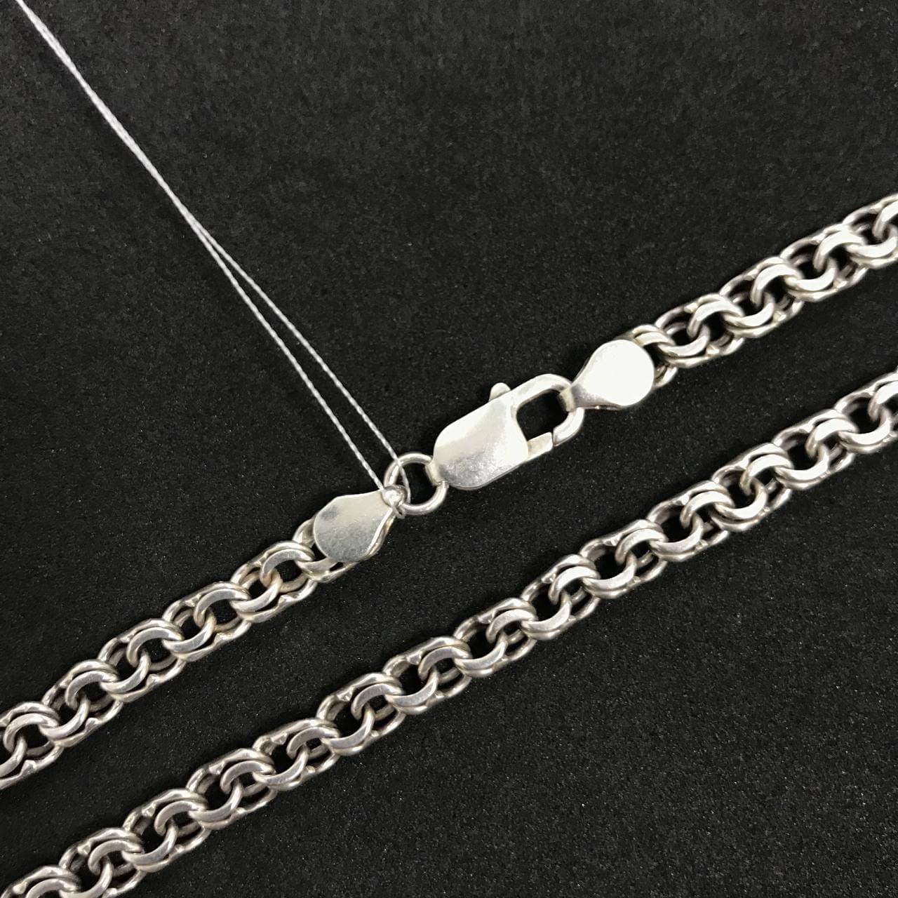 Серебряная цепочка Б/У 925 пробы, плетение Бисмарк, длина 48 см, вес 26.09 г. Серебро из ломбарда