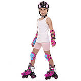 Защита детская для роликов и велосипеда Наколенники и налокотники Перчатки HYPRO (HP-SP-B004) Розовый S, фото 7