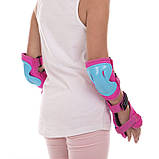 Защита детская для роликов и велосипеда Наколенники и налокотники Перчатки HYPRO (HP-SP-B004) Розовый S, фото 3