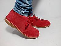 Женские испанские красные замшевые утепленные ботинки, дезерты, еврозима