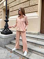 Жіночий легкий коттоновый брючний костюм, фото 1