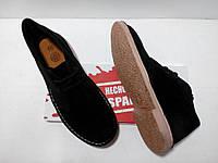 Испанские черные замшевые ботинки на шнуровке