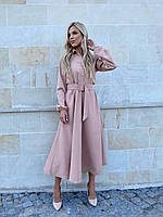 Женское приталенное платье миди с поясом, фото 1