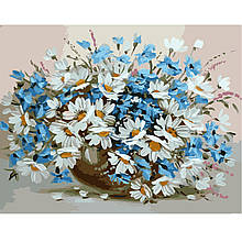 Картина по Номерам Букет васильков с ромашками 40х50см Strateg