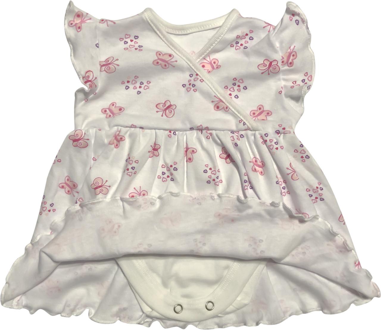 Дитяче літнє плаття на дівчинку ріст 68 3-6 міс для новонароджених малюків з коротким рукавом трикотажне біле
