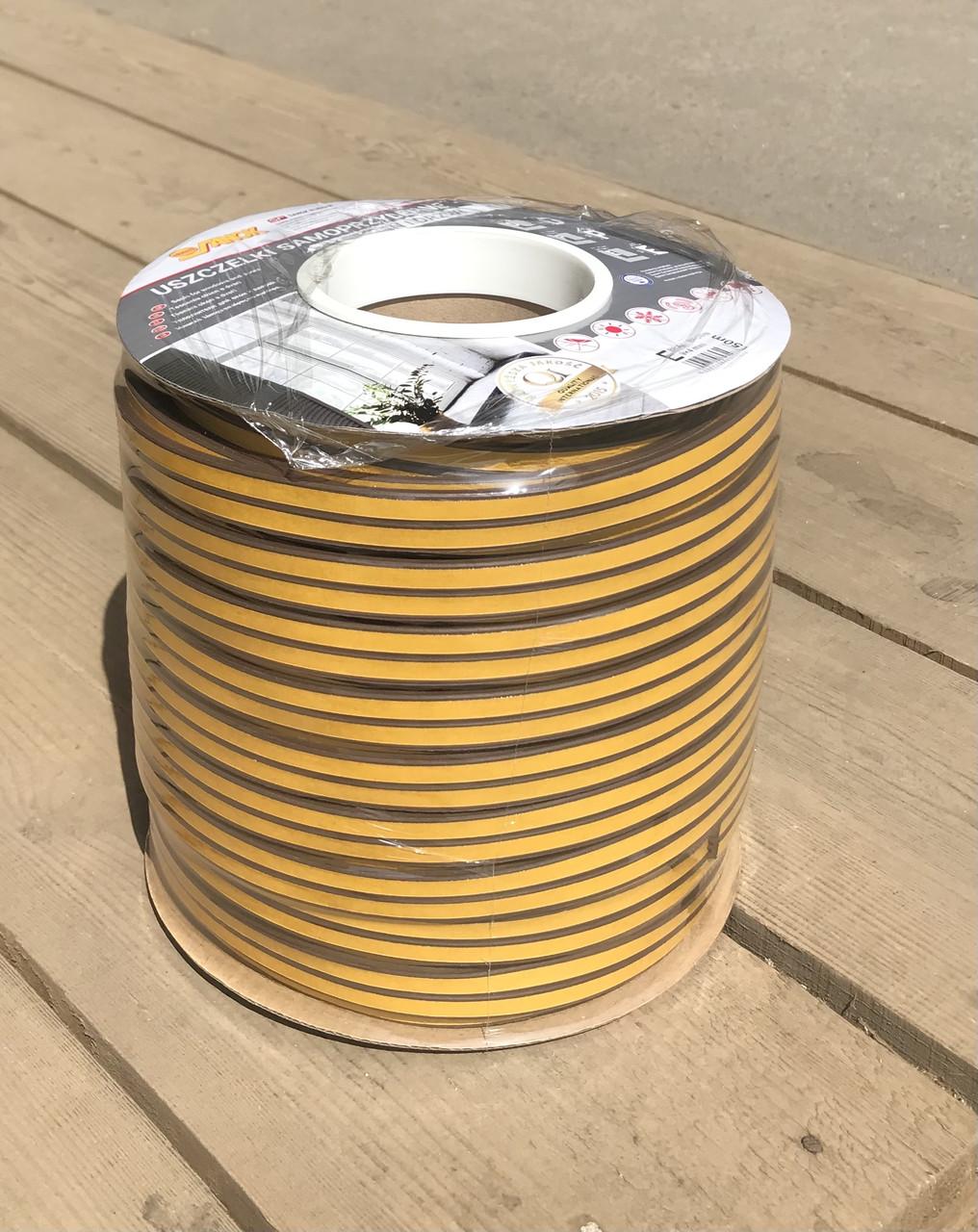 Уплотнитель SANOK резиновый на самоклеящейся основе профиль E 4х9мм коричневый 150м