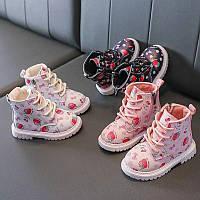 Ботиночки осенние детские для девочки на флисе