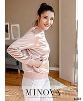 Красива жіноча куртка-бомбер з оксамиту розміри 42 44 46 48, фото 2