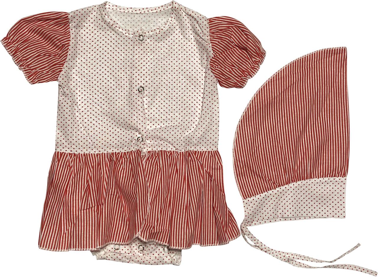 Дитяче літнє плаття на дівчинку зріст 62 2-3 міс для новонароджених з косинкою коротким рукавом батист червоне