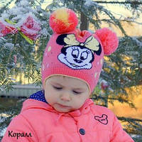 """Дитяча шапка """"Міккі Маус 2"""" (осінь/дівчинка) Р. 42(3-9 міс) та 48(1-3 року)"""