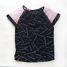 Блузка для дівчинки з коротким рукавом, синя, Olivia, SmileTime
