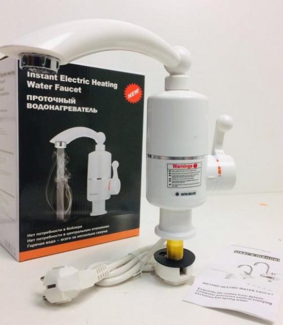 Электрический проточный электро водонагреватель воды 3кВт кран для кухни INSTANT HEATING WATER RX-005 (3417)