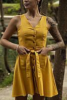 Сукня жіноча сарафан гірчичний Airy. Жіноче плаття-сарафан гірчичного кольору.