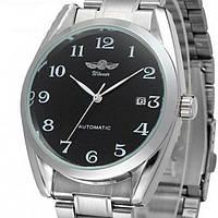 Чоловічий наручний механічний годинник з металевим ремінцем і автопідзаводом