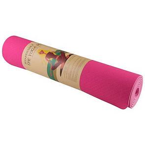 Йогамат, коврик для фитнеса, TPE, 2 слоя, 1830x610x6 мм