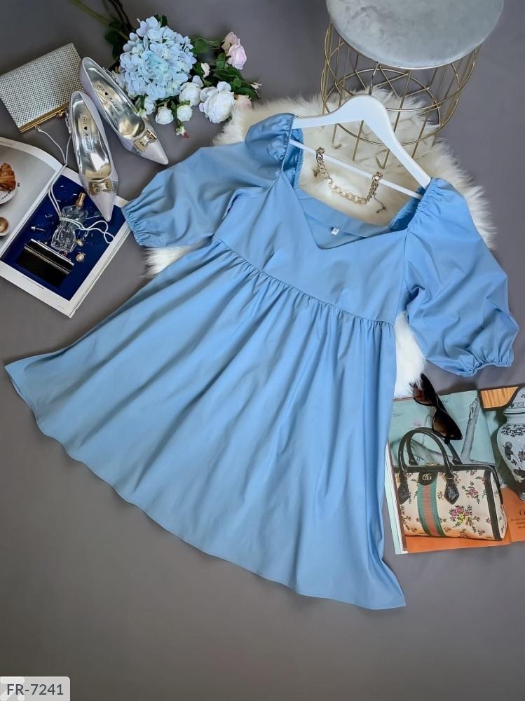 Жіноче коттоновое плаття з рукавом-ліхтариком