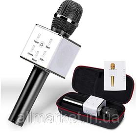 Беспроводной портативный Bluetooth микрофон-караоке Q7 c чехлом