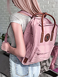 Рюкзак Kanken Fjallraven Classic 16л Розовый ( пудра ) канкен с кожаными ручками школьный, портфель Pink, фото 3