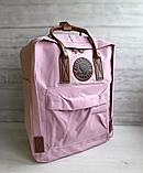 Рюкзак Kanken Fjallraven Classic 16л Розовый ( пудра ) канкен с кожаными ручками школьный, портфель Pink, фото 5