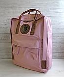 Рюкзак Kanken Fjallraven Classic 16л Розовый ( пудра ) канкен с кожаными ручками школьный, портфель Pink, фото 6